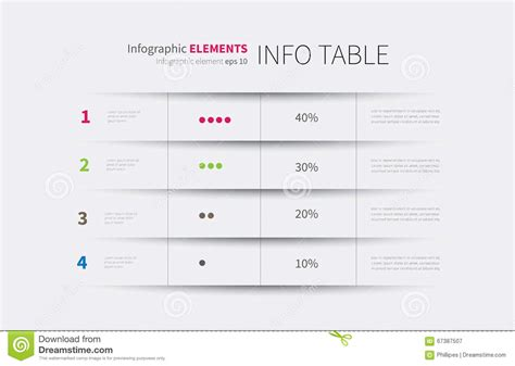 infographics table background stock vector image 67387507