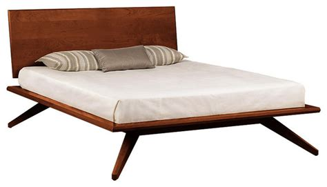 Mid Century Platform Bed Astrid Bed Single Headboard Cognac Cherry Midcentury Platform Beds By Smartfurniture