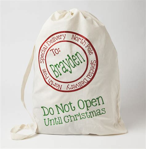 personalized santa sack with red and green glitter