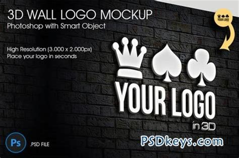 3d wall logo mockup 42001 187 free download photoshop vector