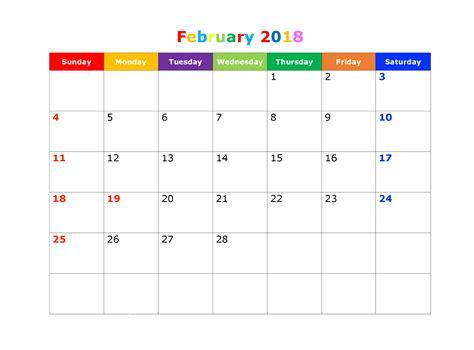 Calendar 2018 February In February 2018 Calendar Pdf Word Excel Free Template