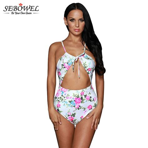 Backless Floral Monokini get cheap white swimsuit aliexpress alibaba