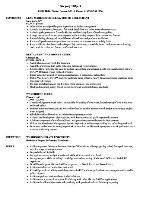 Warehouse Clerk Resume by Warehouse Clerk Resume Sles Velvet