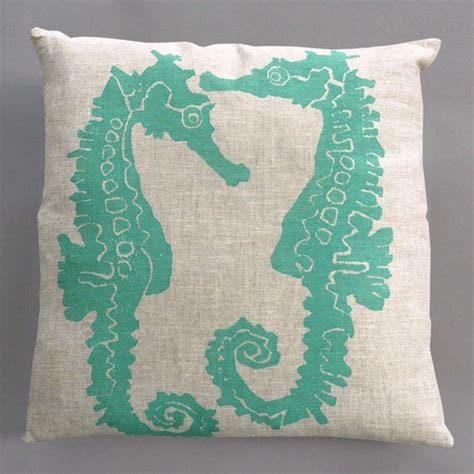 turquoise bed pillows seahorse turquoise pillow on natural linen modern