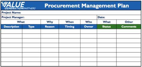 project procurement management plan template project management page 2 value generation partners vblog