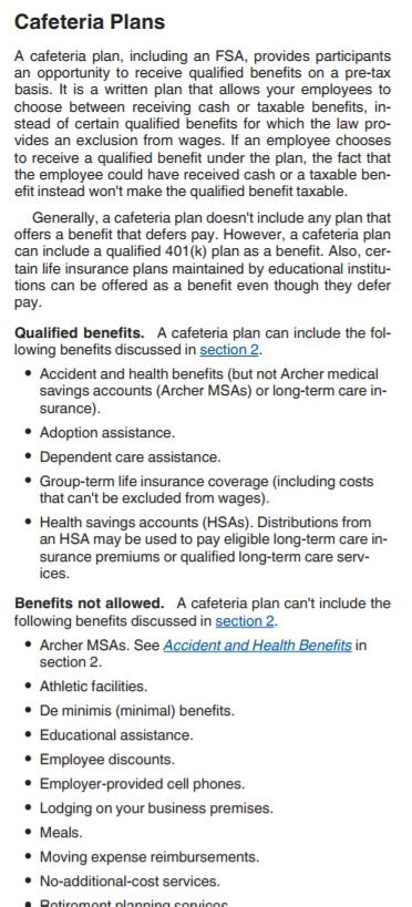 section 45 tax credits 167 125 cafeteria plan full benefit health insurance for