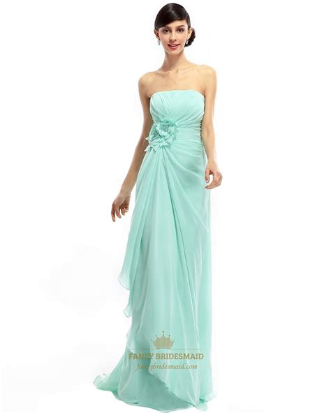 mint bridesmaid dress mint green chiffon strapless bridesmaid dress with