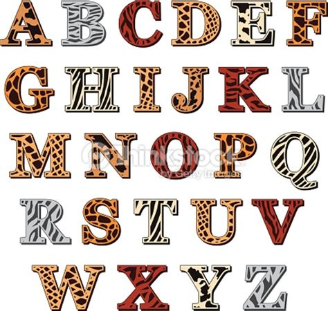 printable safari animal letters latin alphabet with animal print vector art thinkstock