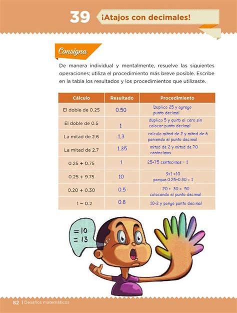 libro de desafos matemticos 4 grado contestado 161 atajos con decimales desaf 237 o 39 desaf 237 os matem 225 ticos