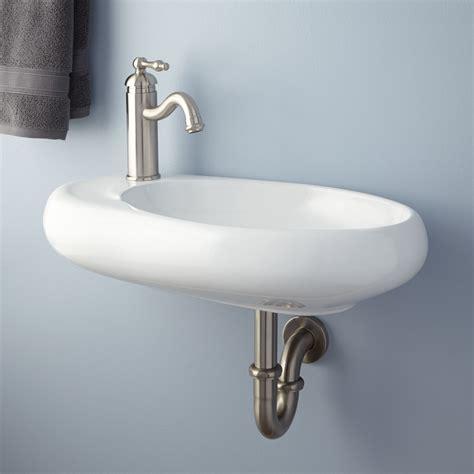 Wall Mount Kitchen Sink Carlene Porcelain Wall Mount Sink Bathroom Sink With Built In Soap Dish Ebay