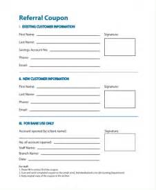 Free Template For Coupons by Sle Referral Coupon Template 9 In Pdf Psd