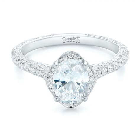 oval halo and pave engraved engagement ring