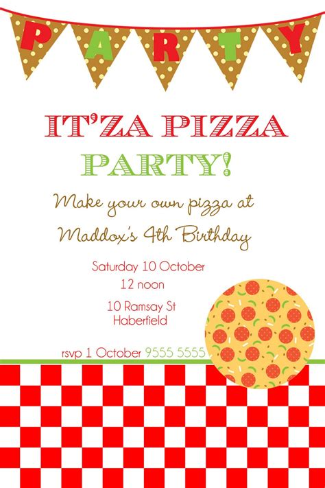 Pizza Birthday Card Template by Invitation Clipart 54