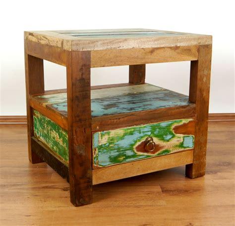 Bedside Table Jakarta Colourful Bedside Table Reclaimed Teak Wood Java Furniture