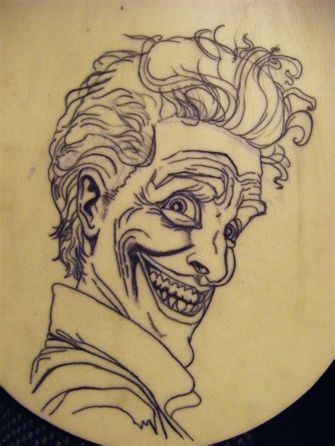 fake tattoo skin practice of the joker on skin outline by