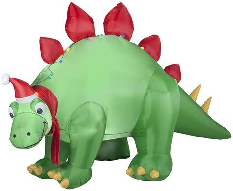 lighted dinosaur christmas decoration gemmy airblown inflatables stegosaurus w santa hat 5 7 ft