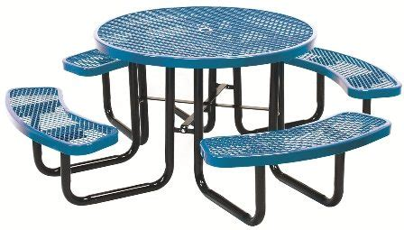 46 quot round expanded metal table outdoor school furniture