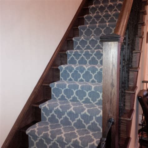 Geometric Pattern Carpet For Stairs   geometric stair runner love your stairs