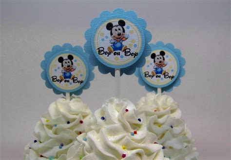 Mickey Mouse For Baby Shower by Baby Mickey Mouse Baby Shower Cupcake Toppers Blue And Yellow