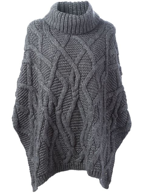 Woolrich Cable Knit Poncho In Gray Grey Lyst