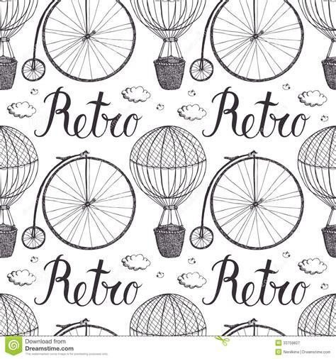 vintage pattern sketch vintage hot air balloon and bicycle pattern royalty free