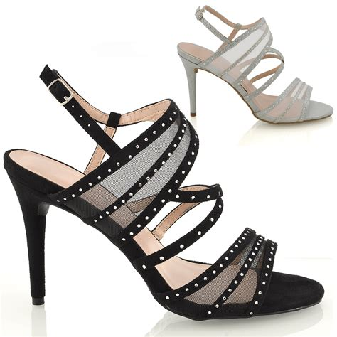womens strappy diamante prom wide fit shoes