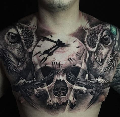 skull with 3d clock amp owls best tattoo design ideas