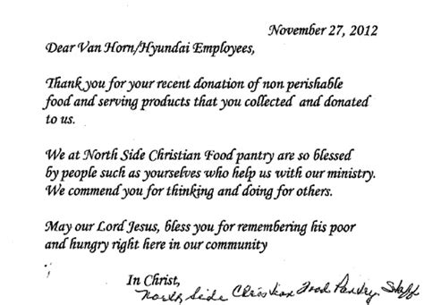 Thank You Letter For Food Drive Donation Horn Auto A Thank You Letter From The Side Chrisitan Food Pantry