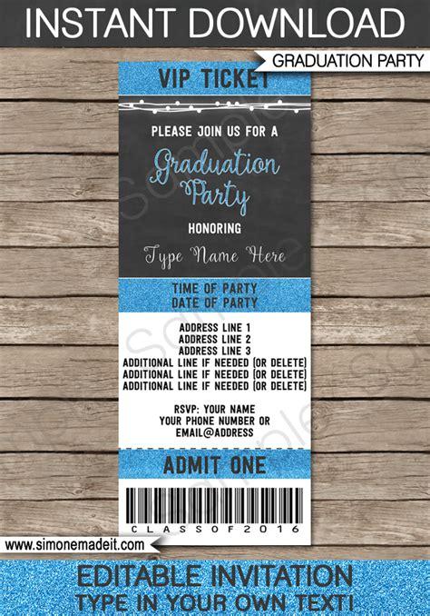graduation ticket invitations template