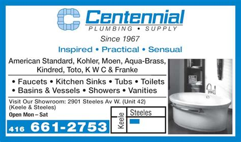 Centennial Plumbing by Centennial Plumbing Supply York On 2901 Steeles