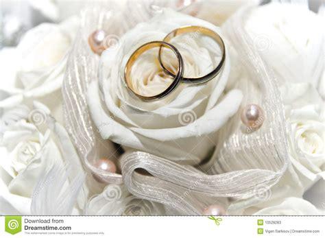 wedding rings on the white stock photos image 10528283