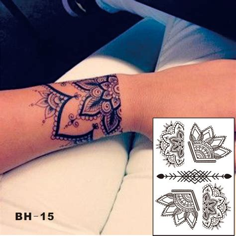 bh 15 beautiful half lotus black henna temporary tattoo