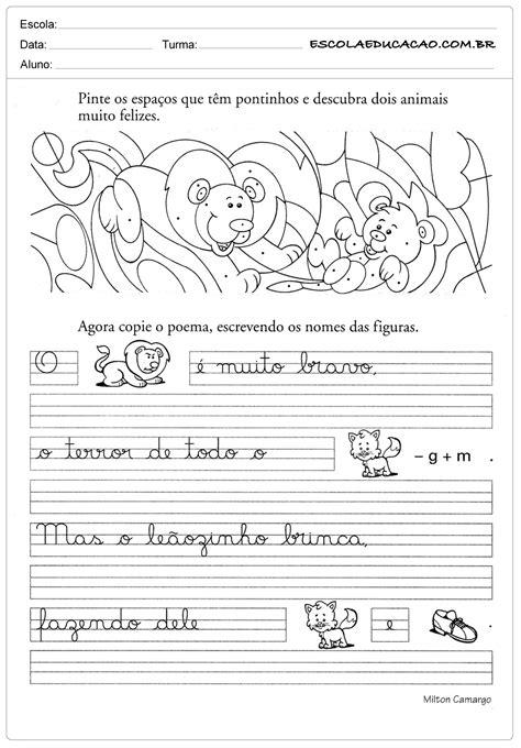 Atividades de caligrafia para imprimir - Escola Educação