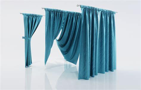 ocean blue curtains ocean blue window curtains 3d model max obj fbx c4d