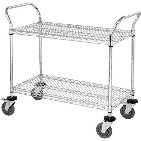 Wire Shelf Cart by Quantum Wire Shelving Mobile Utility Cart 2 Shelves