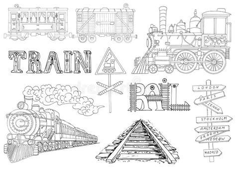 theme line vintage vintage set with locomotive trains and railway theme