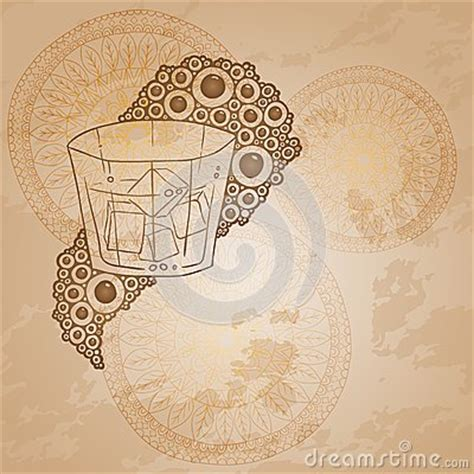doodle circular pattern design wine glass with the doodle circular pattern stock vector