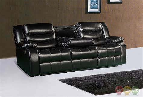 reclining sofa with drop console 644bl black leather reclining sofa with drop console