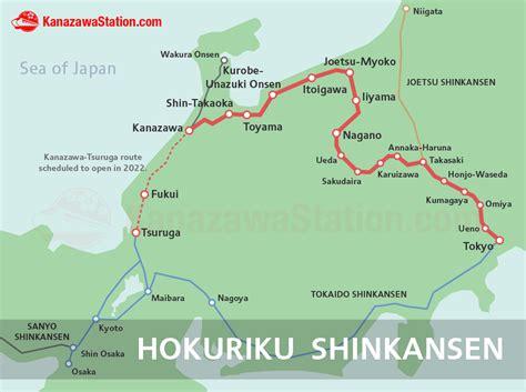 shinkansen map the hokuriku shinkansen for kanazawa toyama nagano