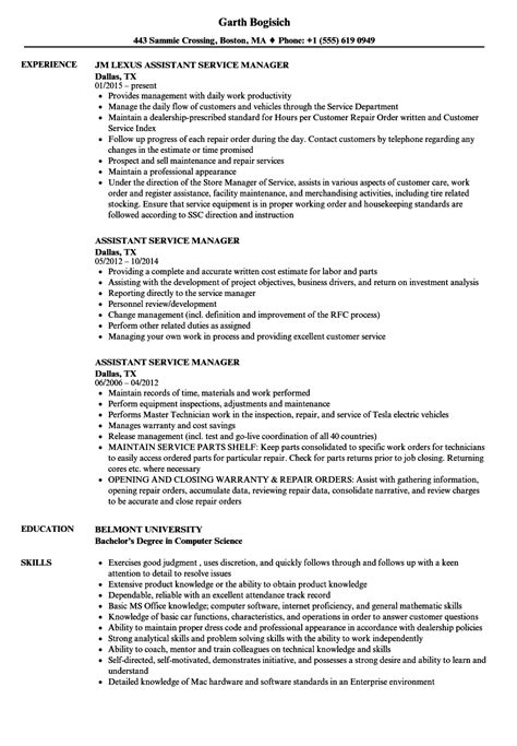 resume format for area service manager assistant service manager resume sles velvet