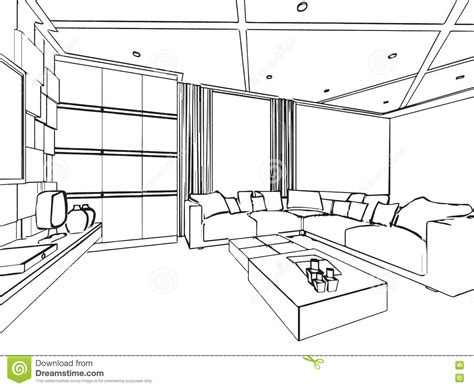 interior drawing outline sketch drawing interior perspective of house stock vector image 73960568