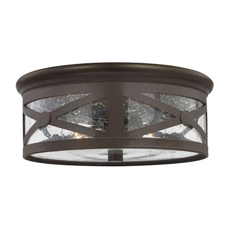 Outdoor Flush Mount Lights Shop Sea Gull Lighting Lakeview 13 In W Antique Bronze Outdoor Flush Mount Light At Lowes