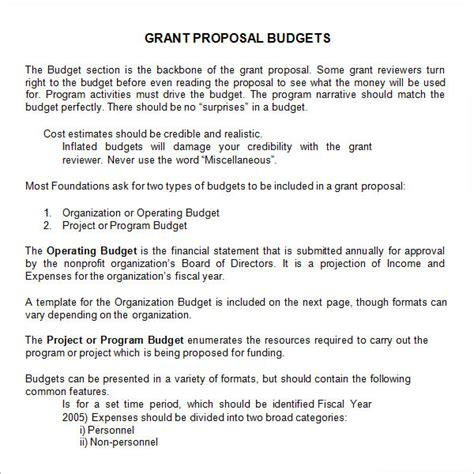program design grant proposal sle budget narrative template choice image template