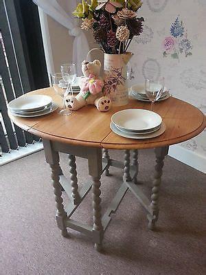 shabby chic solid oak drop leaf gate leg dining table