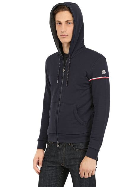 Sweater Hoodie Jumper Band Blur lyst moncler cotton fleece hooded sweater in blue for