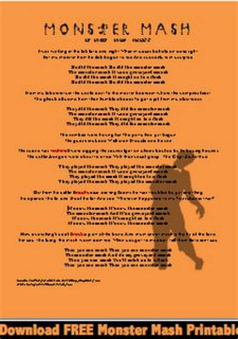 printable lyrics monster mash 1000 images about monster mash on pinterest monster