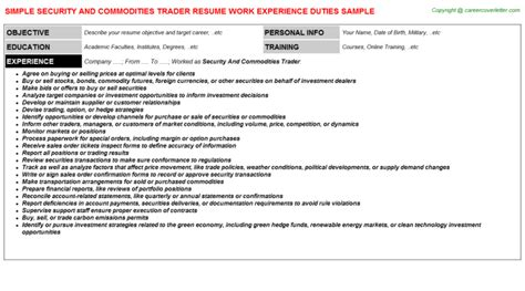 Securities Trader Sle Resume by Security And Commodities Trader Resume Sle