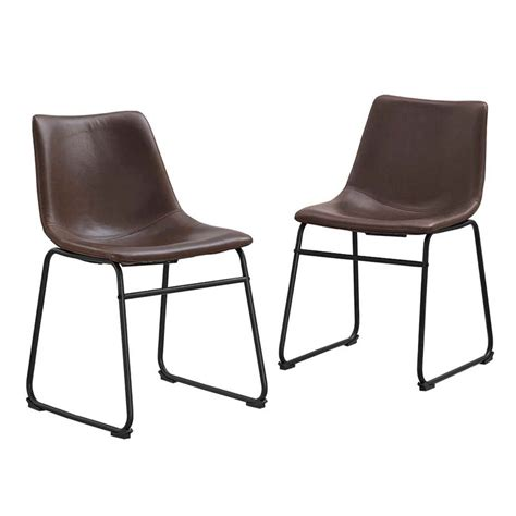Faux Leather Dining Chairs Walker Edison Faux Leather Dining Chairs Brown Set Of 2 Chl18br