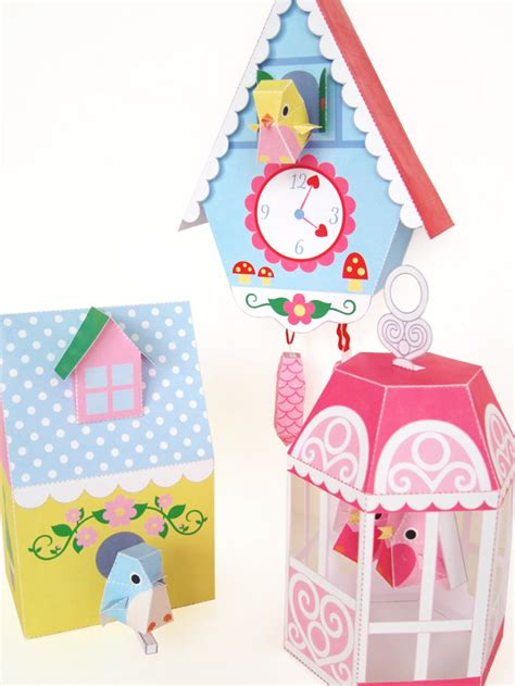 Paper Craft Ideas For Free - cuckoo clock bird house and bird cage printable paper