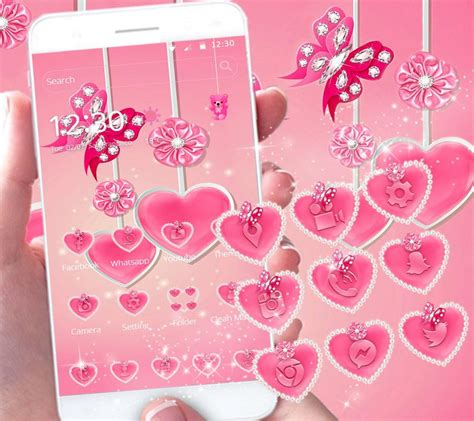 love pink themes pink diamond butterfly theme pink love heart android